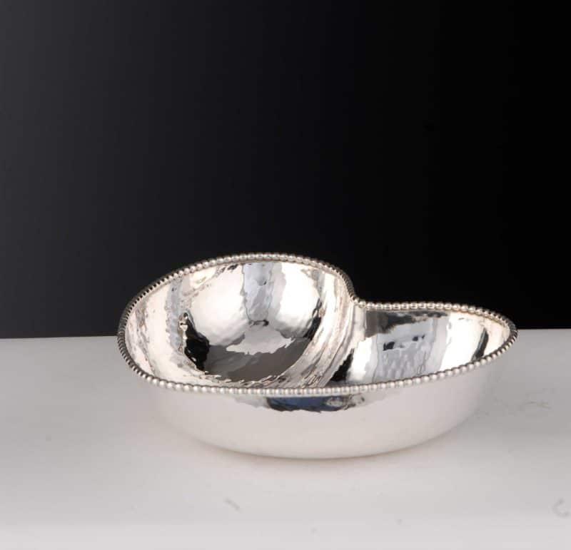 "Schale ""14490.1"" Herzform gehämmert 925 Sterling Silber Massiv"
